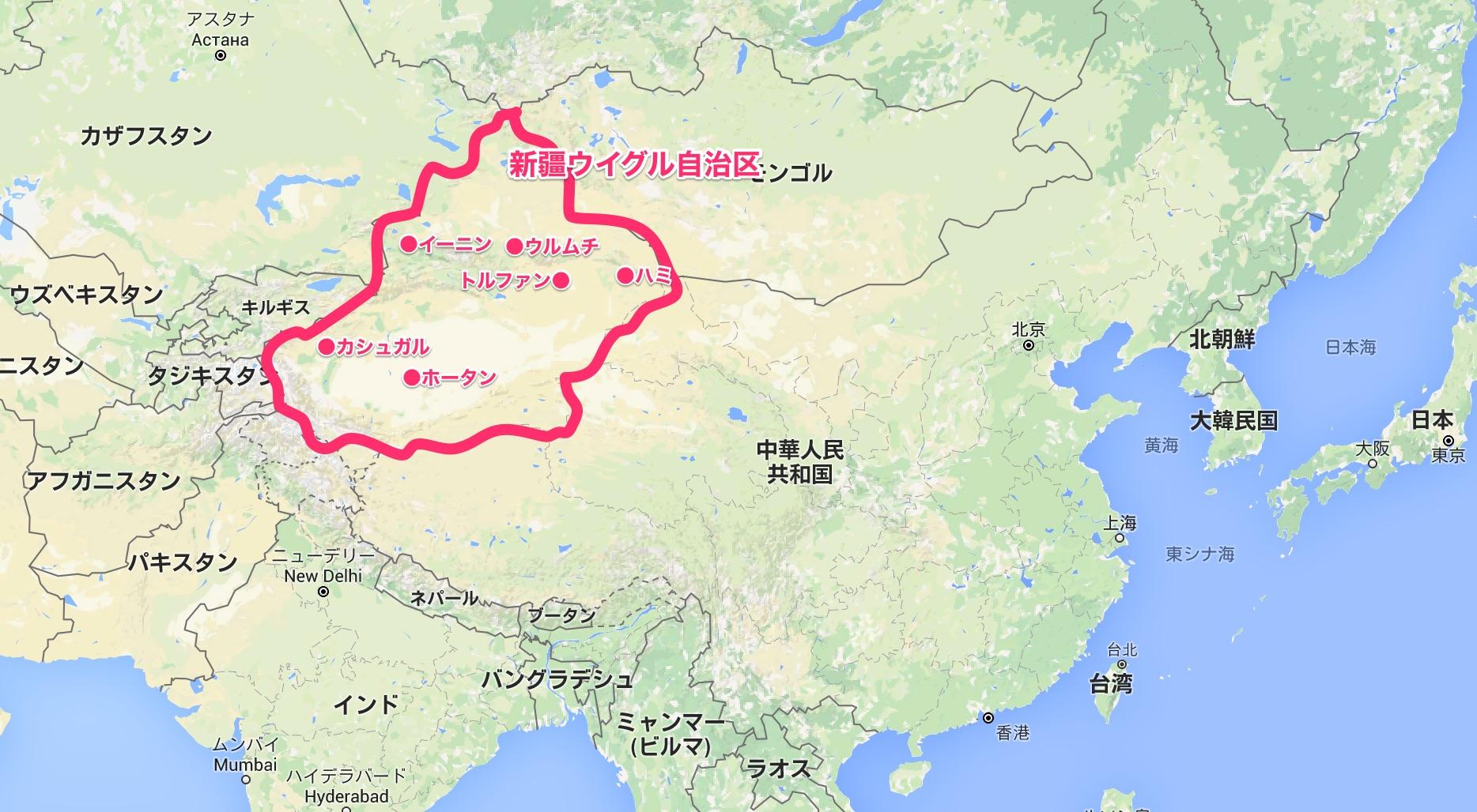 新疆ウイグル自治区マップ