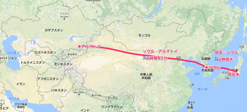 成田→アルマトイMAP【キルギス旅①】