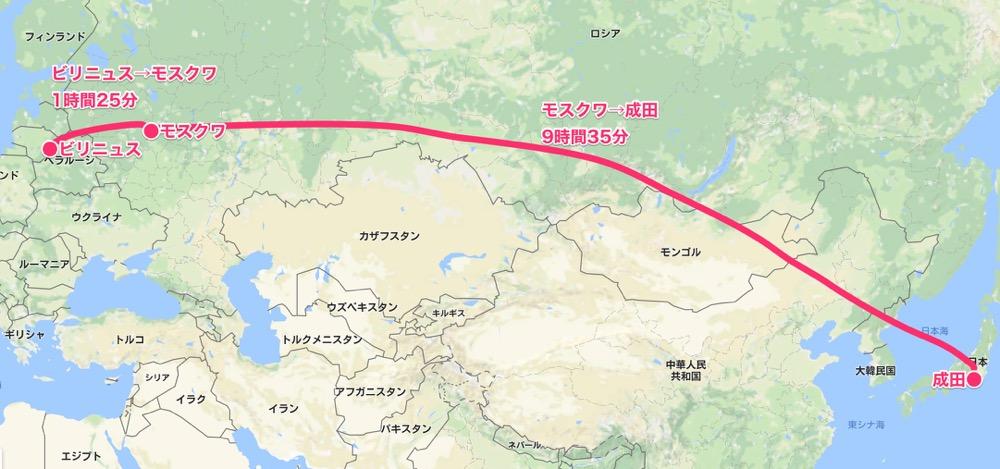 ビリニュス→成田MAP(バルト三国14)
