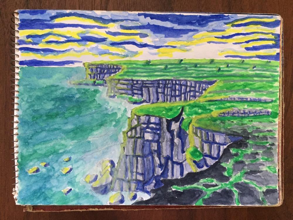 アイルランド・アラン諸島イニシュモア島「ドン・エンガスの断崖」【絵】