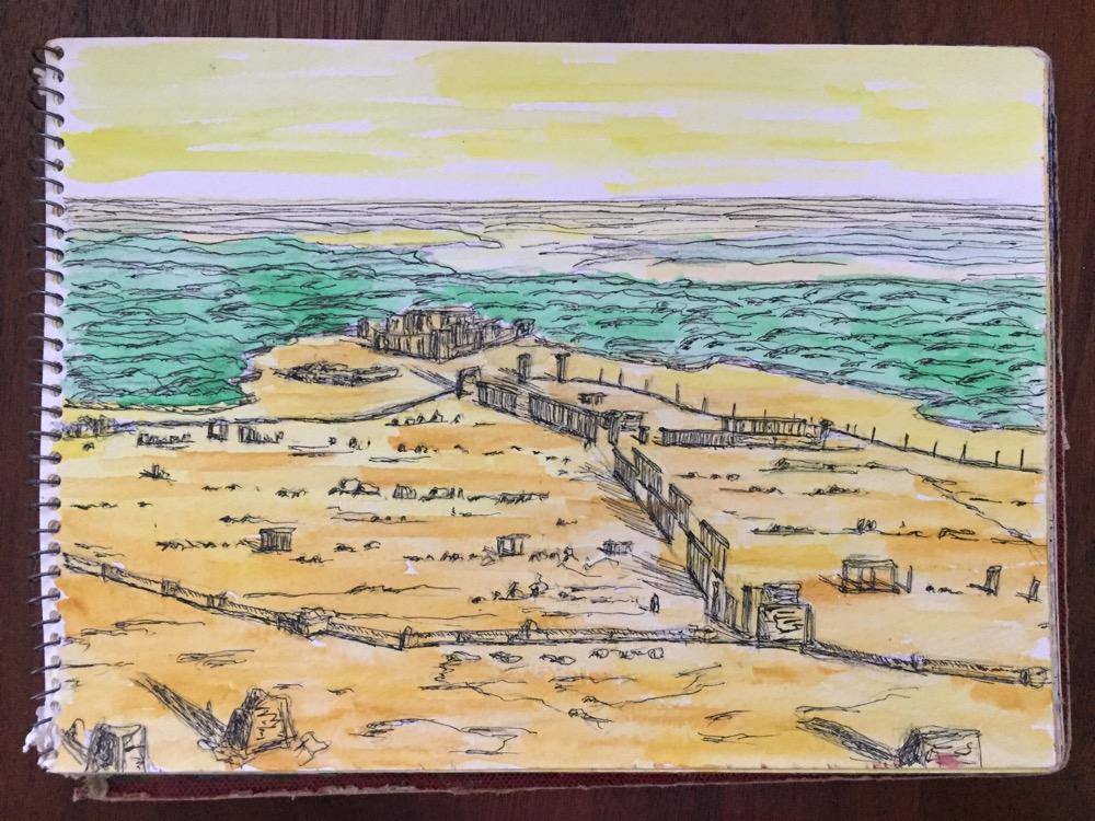 シリア・パルミラ「アラブ城から見たパルミラ遺跡」【絵】