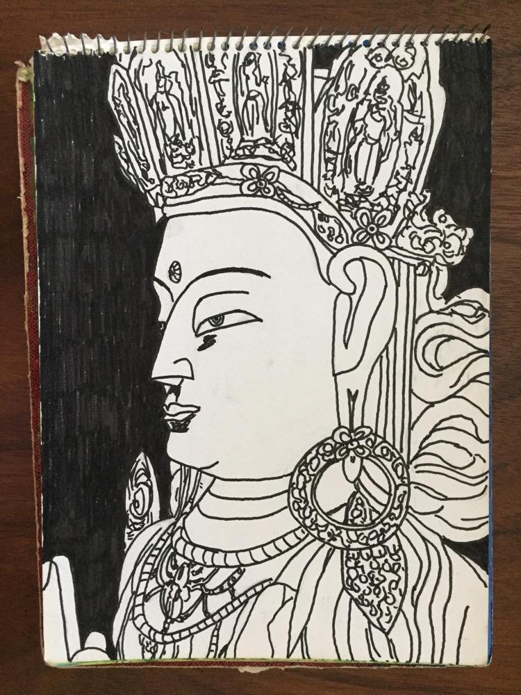 インド・ラダック「ティクセ・ゴンパのチャンパ大仏」【絵】